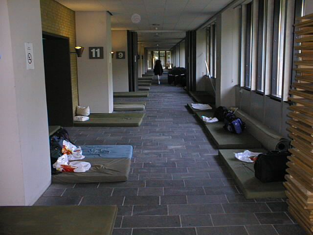 Sleeping quarters (for those who didn't know: It's a gym corridor)